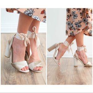 Shoes - Dressy champagne velvet satin laceup heel LOVELY